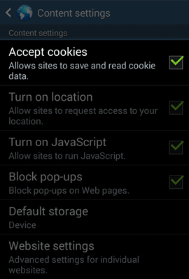 android browser cookie settings