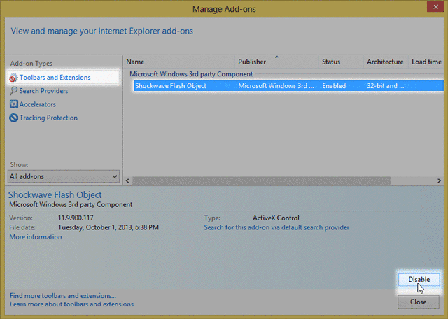ie disable add-ons